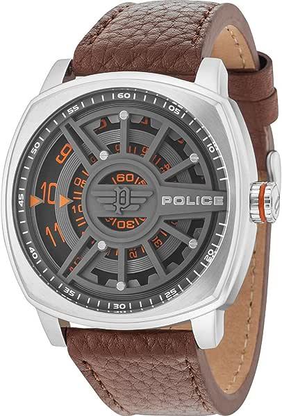 Police orologio analogico quarzo uomo con cinturino in pelle pl15239js.61