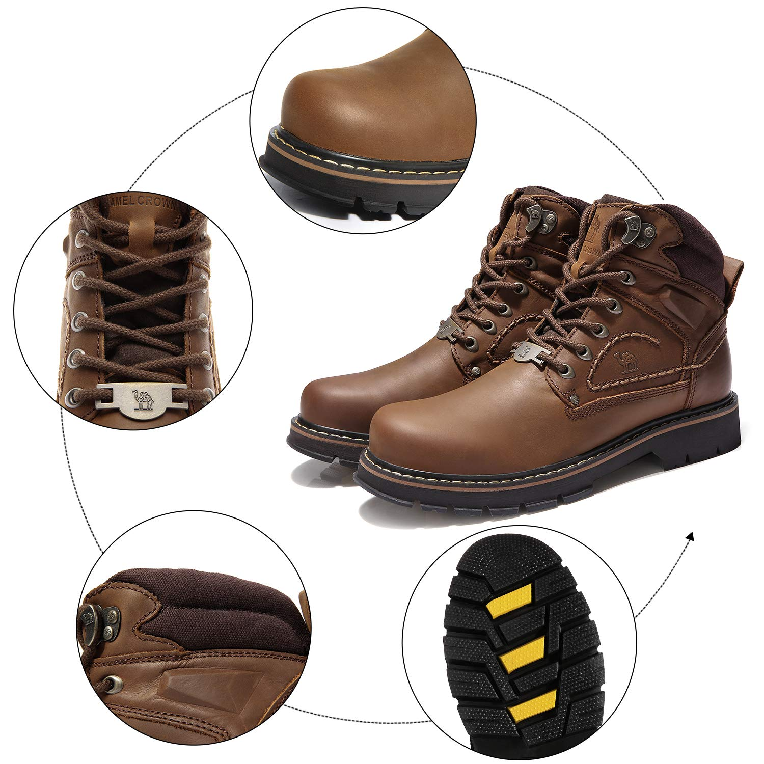 87c3d570efa CAMEL CROWN Men s Leather Boots Casual Lace up Walking Boots Rubber ...