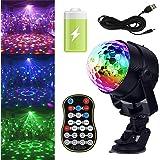 GCBTECH Discolamp met Oplaadbare Batterij, 15 Kleuren RGB LED Disco Licht, Kleurverandering en Muziekgestuurd Discobol Partyl