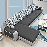 Woodcasa 5 Seater Monteno LHS Fabric L Shape Sofa Set- (Light Grey-Dark Grey)