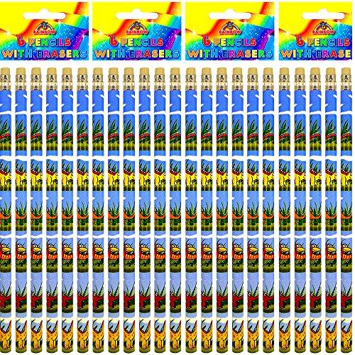 German Trendseller® - 6 x crayons de dinosaures avec gomme┃l'anniversaire d'enfant┃petit cadeau ┃motifs dinos┃fourniture scolaire