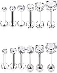 Dyknasz 18G 16G Surgical Steel Stud Earrings with Clear Diamond CZ Cartiliage Earring Tragus Helix Conch Piercing Jewelry for Women Men Girls