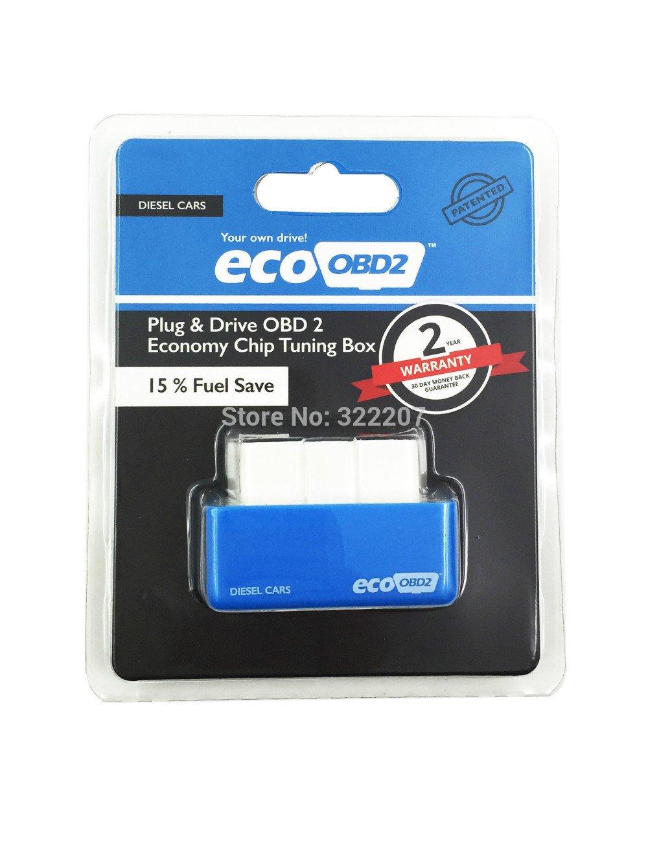 economy eco obd2 chip tuning box blue color 15 fuel save eco obd2