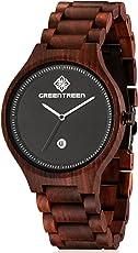 Greentreen Handgefertigte Herren Holzuhr aus massivem, rötlichen Sandelholz, Armbanduhr für Männer mit Quarzziffernblatt und Datumsanzeige