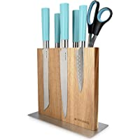 Navaris Bloc à Couteaux magnétique - Bloc aimanté Double Face en Bois d'acacia - Range Couteau de Cuisine Vide - Support…