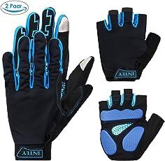 INTEY Fahrradhandschuhe Fitness Touchscreen kompatibel Vollfinger und Halbfinger mit Stoßabsorber und Belüftungslöcher für Radsport, 2 Paare