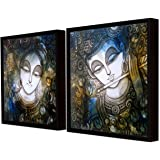 Painting Mantra Art Street Sri Krishna Theme Framed Canvas Wall Print Paintings (13x13 Inches) -Set of 2