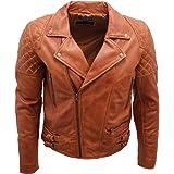 Infinity Leather Giacca da Motociclista da Uomo in Pelle Marrone Chiaro Trapuntata Brando retrò da Uomo