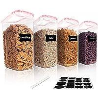 Vtopmart 4L Grands Boite de Conservation Alimentaire sans BPA pour Cuisine Pantry, Ensemble De 4 24 Étiquettes, pour…