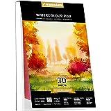 Akvarellpapper A5 x 30 ark för akvarellmålning, kallpressad, 63,5 kg/300 gsm, akvarellritningsdyna, perfekt för resepencILMAR