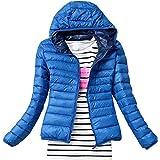 Qianliuk Frauen Daunenjacke Mode Winter Reißverschluss Schlanke Kleidung Einfarbiger Kapuzen-Kurzmantel Warm halten Futter Re