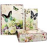 Jolitac Lot de 3 boîtes à livres décoratives avec couvercle magnétique, imitation bois (papillon)