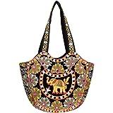LeeRooy Cotton Traditional Ethnic Rajasthani Jaipuri Embroidered Handbag for Girls Women