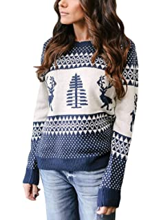 RUIVE Plus Size Sweater for Women/'s Knitted Tops Christmas Leopard Print Knitwear Ladies Long Loose Blouse