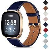 CeMiKa Lederen Bandje Compatibel met Fitbit Sense/Fitbit Versa 3, Vervangende Lederen Band Compatibel met Fitbit Sense/Fitbit