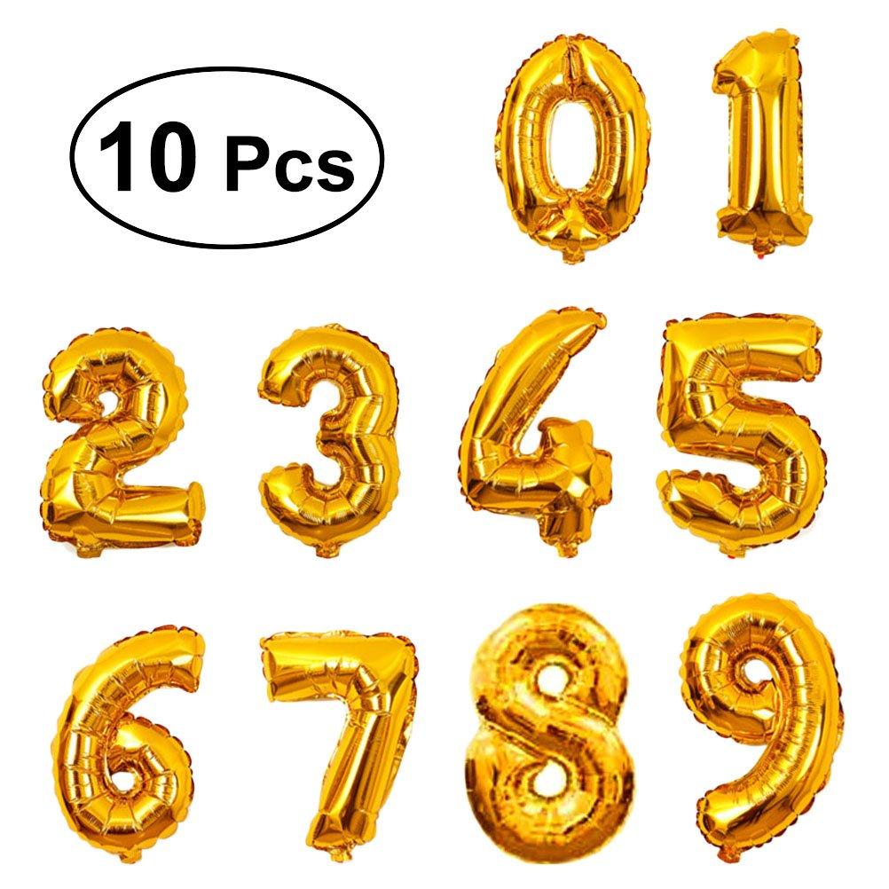 Yeahibaby 10 unids 0-9 16 pulgadas Globos Número Digital de Papel de Aluminio Globos de Película Globos Mylar Fuentes Del Partido (Oro Rosa)
