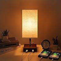 Kakanuo Lampe de Chevet avec USB, Lampe de Table Moderne en Bois Massif avec 2 Ports USB et Chaîne de Traction…
