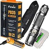 Fenix PD35 V2.0 2018 1000 Lumen Flashlight rechargeable bundle with Fenix USB Rechargeable 3500mAh li-ion Battery & EdisonBri
