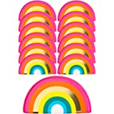 Talking Tables RAIN Pack of 12 (24cm) Shaped Rainbow Plates with FOIL Fun Birthday Cake Party Table Decorations, Paper Dispos
