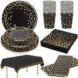 24 Invitados Platos Desechables Cumpleaños Negros Platos y Vasos para Cumpleaños Servilletas Pajitas de Papel Mantel 18 50 70