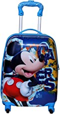 GOCART Micky Printed Hard Side Water Proof Polycarbonate 360 Degree Rotating School Bag for Baby Boys & Baby Girls (Blue)