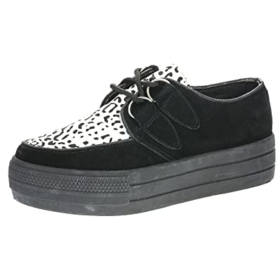fb16d988004e LADIES WOMENS FLAT PLATFORM WEDGE BLOCK HEEL LACE UP GOTH PUNK REAL SUEDE  CREEPERS SHOES BOOTS (UK3, Black/White): Amazon.co.uk: Shoes & Bags