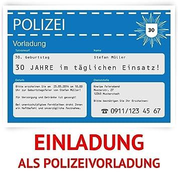 Einladungskarten Zum Geburtstag (30 Stück) Als Polizeivorladung Polizei  Vorladung Karte
