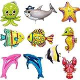 10Pcs Palloncini di pesce Palloncini di squalo Compleanno sotto il mare Palloncini Pesca Decorazioni di compleanno Decorazion