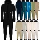 Mens Hooded Onesie All in One Zip Through Loungewear Bodysuit Zipped Hooded Casual Soft Plain One Piece Fleece Suit Jumpsuit