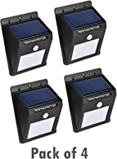 Techzere Solar Panel LED Sensor Light with 16 LEDs. Waterproof and Two Lighting Modes (Pack of 4)
