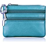 Women's Genuine Leather Coin Purse Mini Pouch Change Wallet with Key Ring (Light Blue)