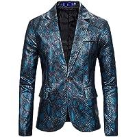 Sweetmini Men Club Wear Sport Coat Snakeskin Print Notched Lapel One Button Blazer Jackets