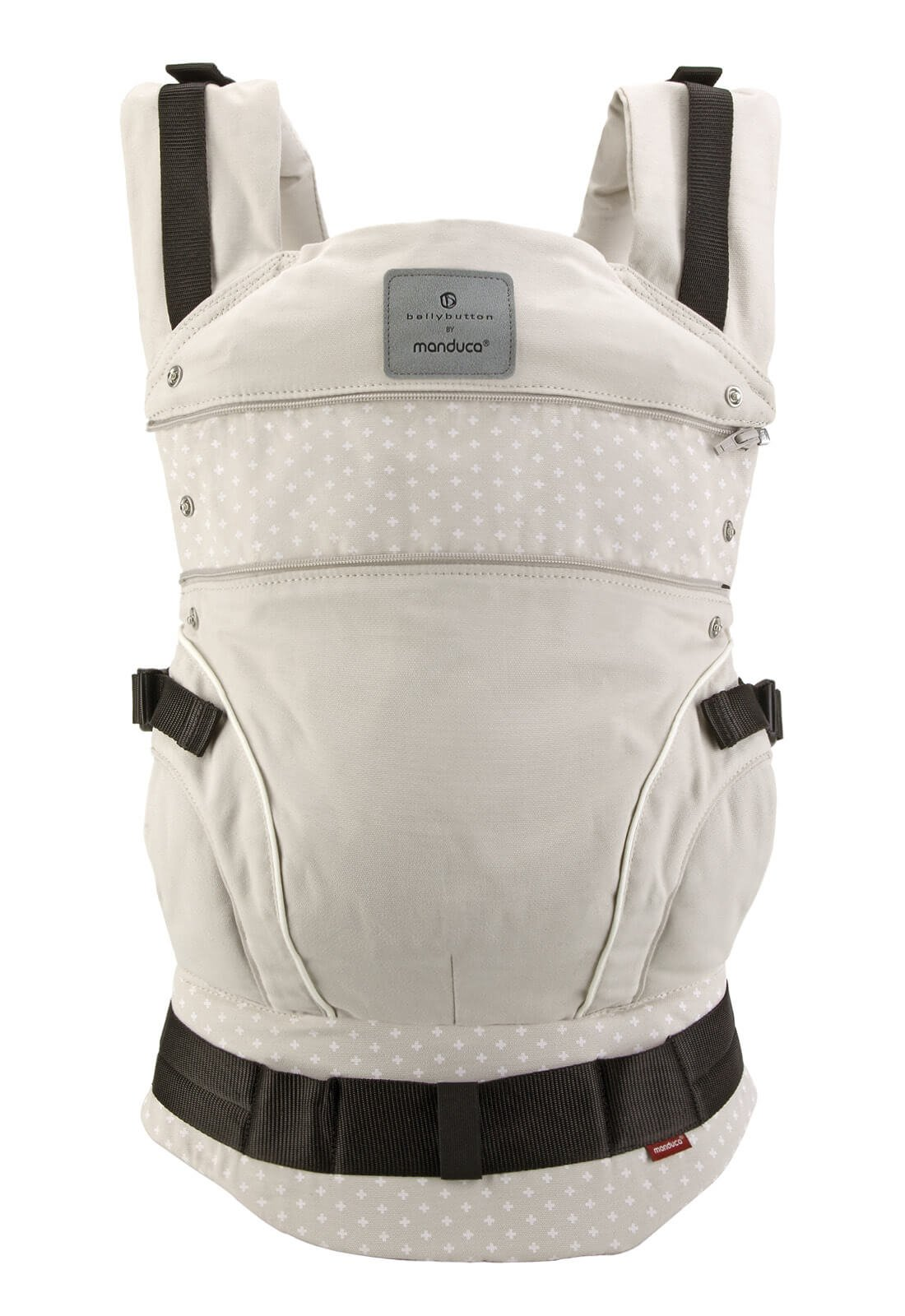 manduca First Baby Carrier > Bellybutton by manduca Edition, WildCrosses Sand < Child Carrier with Ergonomic Waist Belt & Patented Back Extension, Newborn to Toddler Manduca The anatomical shape of your belt makes all the weight to be on the hip, while the back, neck or shoulders of the person who takes padezcan The Manduca 222 Backpack allows you to position the child in front, behind or on the hip, always looking at the person who takes you The backpack also features a concealed hood and shades that can be to child's head when sleeping or to protect it from the sun and rain 3