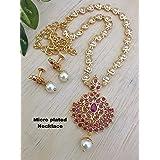 Hanaa 1Gram Gold Micro Plated South Indian Traditional Trendy Stylish Fashion Jewellery Set Wedding Ruby Emerald Short Pearl