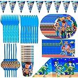 Kit De Vajilla Desechable, BAIBEI Decoraciones Cumpleaños Kit Para Mesa De Fiesta Toy Story 4 Theme Gaming Artículos De Fiest