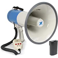 Vexus MEG065 Profi Megafon lautes 65 Watt Megaphone mit Akku-Betrieb (Aufnahme-Funktion, MP3-fähiger USB- und SD…