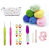 Kit de Fil de Laine à Tricoter au Crochet, Fil Acrylique Souple de Couleur de Base avec Crochets et Outils Communs pour…