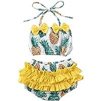 Carolilly 2 Pezzi Completo Bambina Neonata Bikini Costume da Bagno Estivo Body Suit Stampata con Frutti (0-4 Anni)