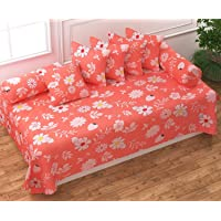 Divine Overseas Micro Fabric Soft (Designer Diwan Set Pack of 8, Orange Flowers Desgin)
