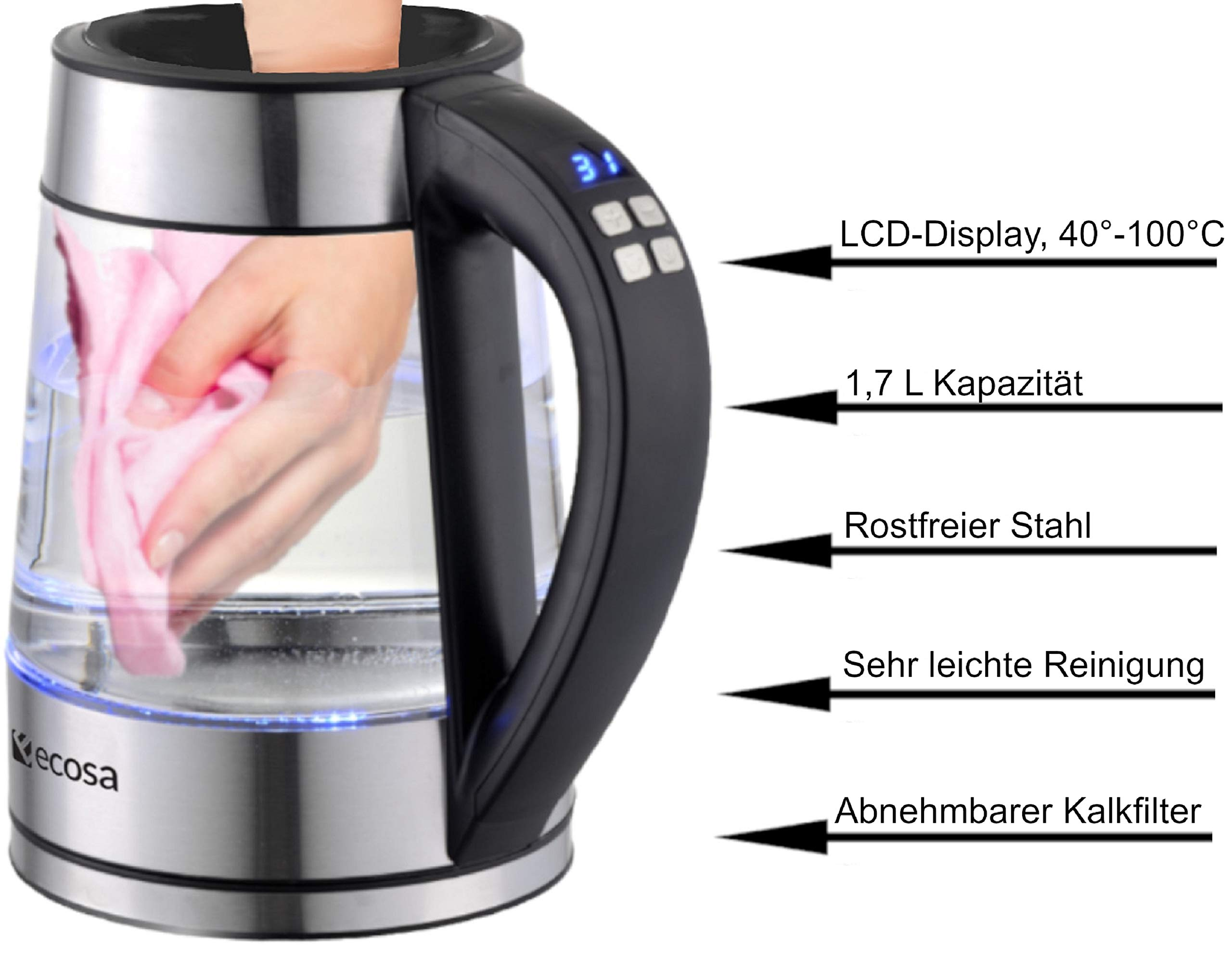 Glas-Wasserkocher-17-Liter-2200-Watt-Edelstahl-mit-Temperaturwahl-Teekocher-100-BPA-FREI-Warmhaltefunktion-LED-Beleuchtung-im-Farbwechsel-Temperatureinstellung-40C-100C