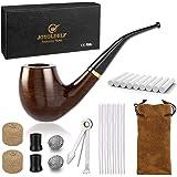Joyoldelf Pipa de Fumar de Madera del Tabaco, Pipas de Tabaco de Pera con Limpiadores de Pipa, Filtros de Pipa de 9 mm, Espát
