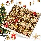 Bluelves Adornos de árbol de Navidad, 56pcs Adornos de Navidad Paja, Decoraciones Ornamentales para Colgar en el árbol de Nav