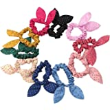 Fliyeong - 10 gomas de pelo con orejas de conejo para coletas, elegantes y populares