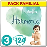 Pampers Couches Harmonie Taille 3 (6-10kg) 0% de compromis, 100% d'absorption, Ingrédients d'origine végétale, Hypoallergéniq