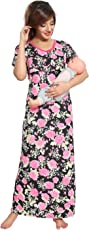 Be You Serena Satin Floral Women's Feeding / Maternity Gowns