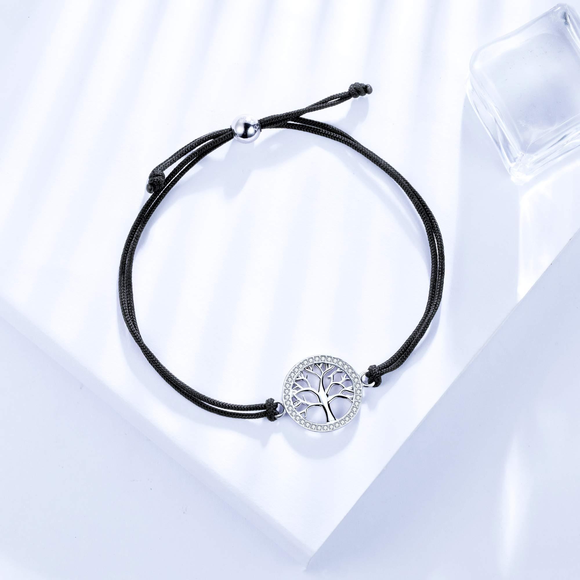 J.End/éar Arbre de Vie Bracelet Carte du Monde Femme 925 Argent Zircone Bracelets Femmes 24CM Taille R/églable