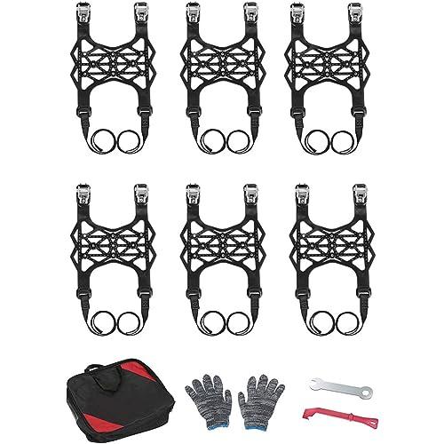 TTLIFE Catene da Neve per Auto, Catene per Pneumatici universali da 6 Pezzi, Set di Catene Antiscivolo di Emergenza - 165-275 mm / 6,49-10,9 Pollici Regolabile per Auto/Camion/SUV (Nero)