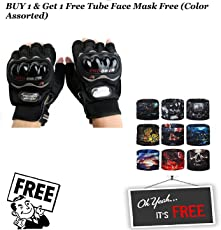 Speedy Ninja Probiker Half Finger Racing Motorbike Gloves (Black) with Riding Neck Face Mask Protection Head Bands - XL
