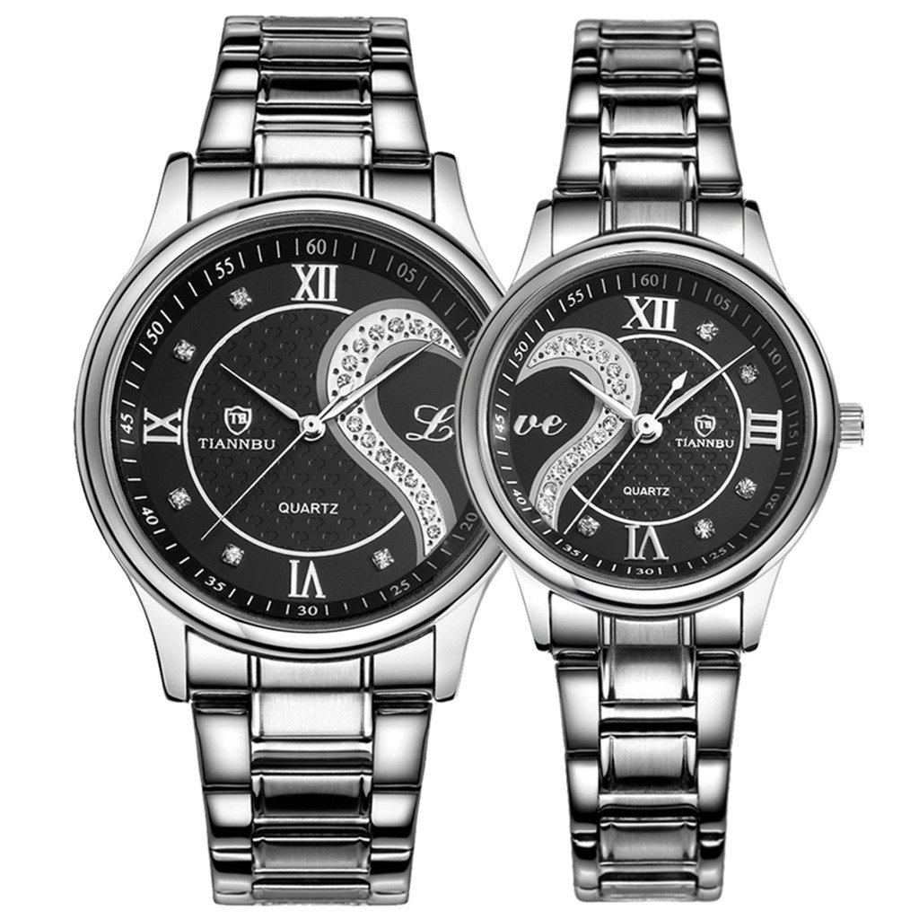 OOFIT Paaruhren Analog mit Edelstahl Armband OOFIT-DE-BLACK-STEEL-LOVE