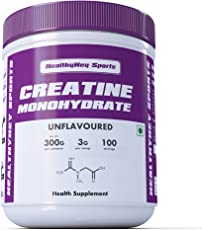 HealthyHey Sports Creatine Monohydrate, 100 Servings (Unflavoured, 300g)
